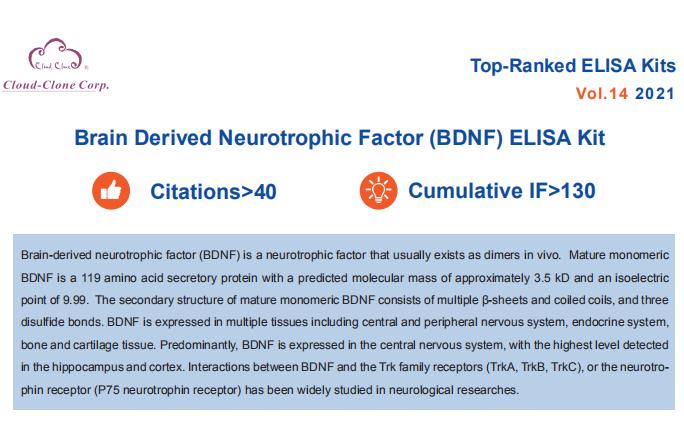 Top-Ranked ELISA Kits (Brain Derived Neurotrophic Factor). Vol.14