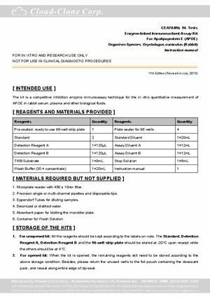 elisa kit for apolipoprotein e apoe cea704rb oryctolagus rh cloud clone com