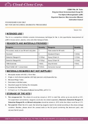ELISA-Kit-for-Alpha-2-Macroglobulin-(a2M)-CEB017Mu.pdf