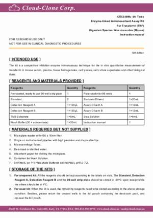 ELISA-Kit-for-Transferrin-(TRF)-CEC036Mu.pdf