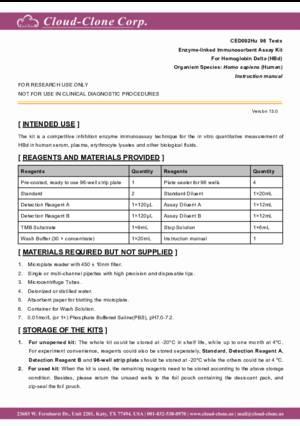 ELISA-Kit-for-Hemoglobin-Delta-(HBd)-CED092Hu.pdf