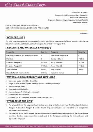 elisa kit for tissue factor tf sea524rb oryctolagus cuniculus rh cloud clone com