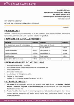 ELISA-Kit-for-Integrin-Beta-3-(ITGb3)-E91262Hu.pdf