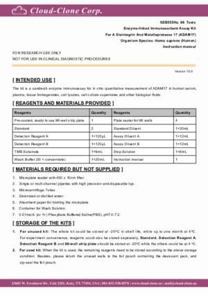 ELISA-Kit-for-A-Disintegrin-And-Metalloprotease-17-(ADAM17)-SEB555Hu.pdf