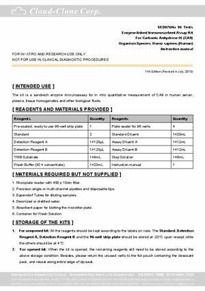 ELISA-Kit-for-Carbonic-Anhydrase-IX--CA9--E93076Hu.pdf